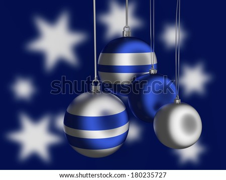 Christmas tree balls in silver and blue. - stock photo