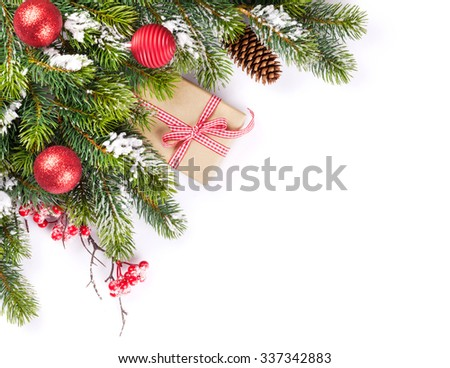 Christmas tree branch and gift box. Isolated on white background - stock photo