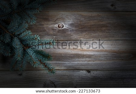 Christmas Tree Branch on Rustic wooden boards with vignette border  - stock photo