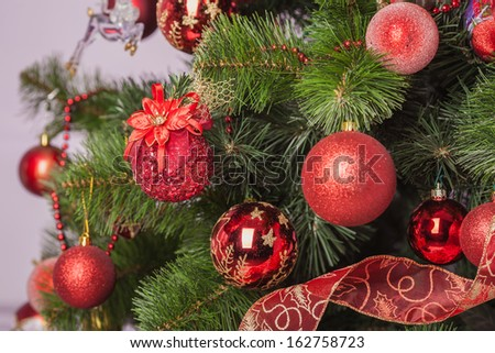 Christmas tree branch with a gift in a red box - stock photo