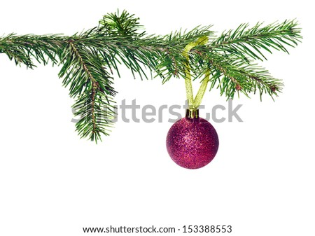 Christmas tree branch with decoration  ball - stock photo