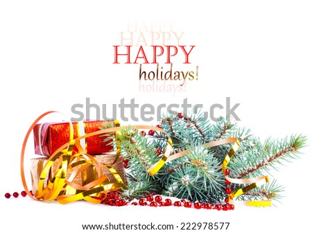 Christmas tree branch with gift in red box on white background isolated  - stock photo