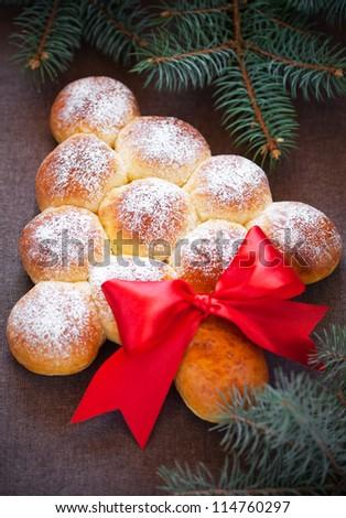Christmas tree bread buns, selective focus - stock photo