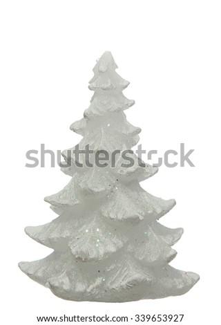Christmas tree candle  isolated on white background - stock photo