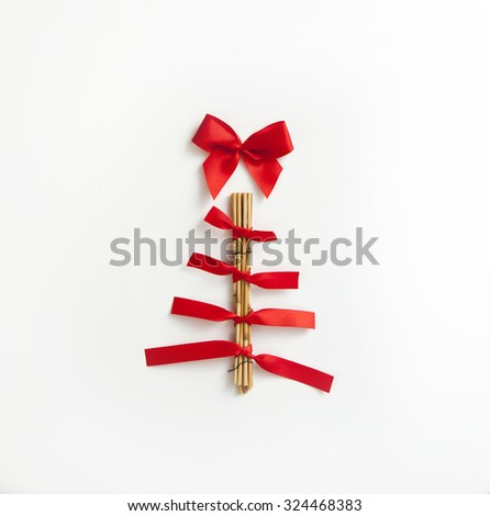 Christmas Tree Card made of red ribbons , isolated on white background - stock photo