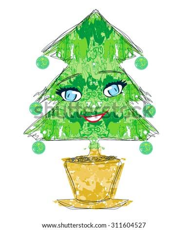 christmas tree cartoon character  - stock photo