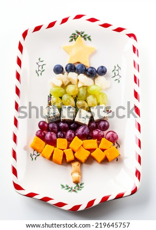 Christmas tree cheese platter - stock photo