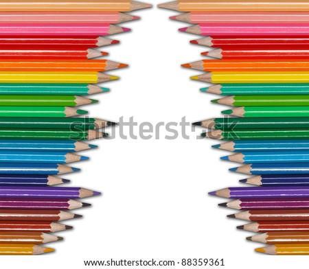 christmas tree - color pencils - stock photo
