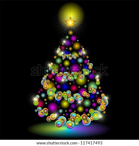 Christmas Tree Colorful Lights Design - stock photo