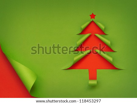 Christmas tree created from curled paper - stock photo
