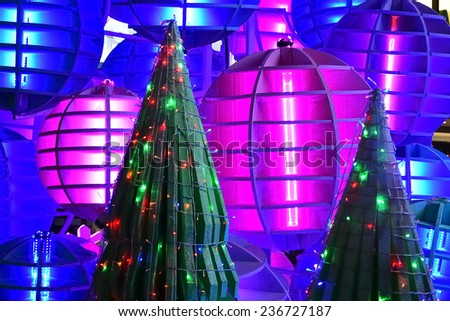 Christmas tree decorate with colorful lighting design - stock photo