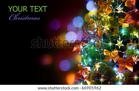 Christmas Tree Decorated.Over Black - stock photo