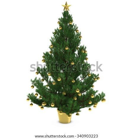Christmas Tree Decorated with Gold Baubles Isolated on White Background - stock photo