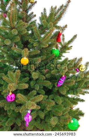 Christmas tree decorated with toys close-up - stock photo