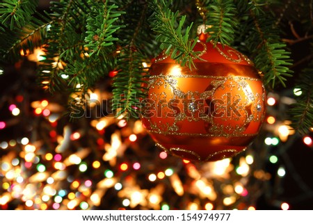 Christmas Tree Decoration Christmas tree lit background - stock photo
