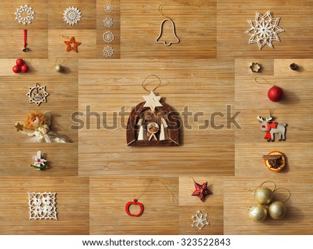 Christmas tree decoration collage on a wooden board backgrounds. - stock photo