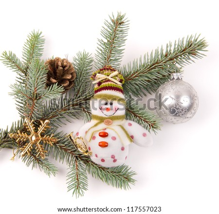 christmas tree decoration with snowman on white - stock photo