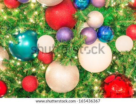Christmas tree - Decorations close up - stock photo