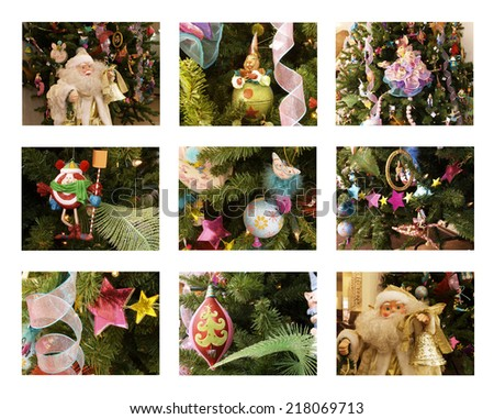 Christmas-tree decorations composition on a white background - stock photo