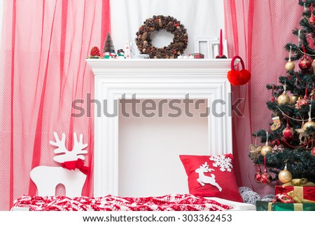 Christmas tree decorations in the festive interior - stock photo