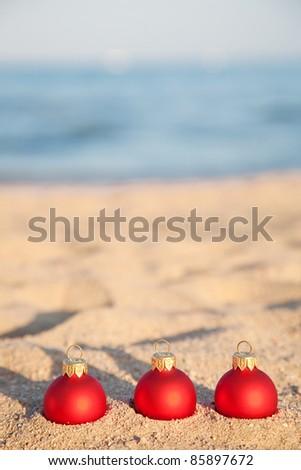 Christmas tree decorations on sea coast - stock photo