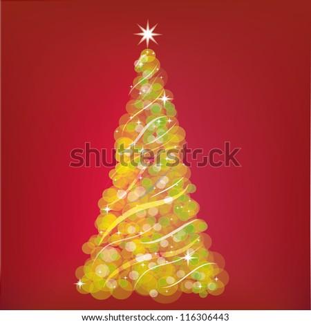 Christmas tree designs with stars - stock photo