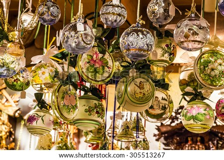 Christmas tree exclusive glass decoration in Munich shop, Bavaria, Germany.  - stock photo