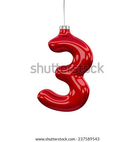 Christmas Tree Font: digit 3 isolated on white - stock photo