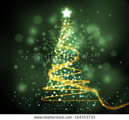 Christmas tree from light Green background - stock photo