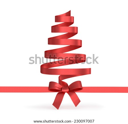 Christmas tree from ribbons  - stock photo