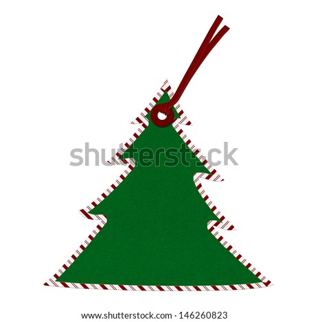 Christmas Tree Gift Tag with Candy Cane border isolated on white, Christmas Tree Gift Tag - stock photo
