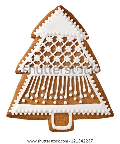 Christmas tree gingerbread isolated on white background - stock photo