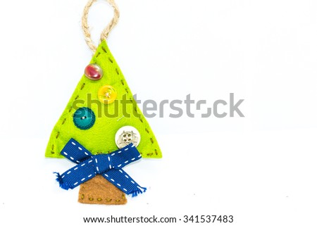 Christmas tree, graphic resource, recycled fabric, idea of Christmas, the festival concept, abstract object. - stock photo