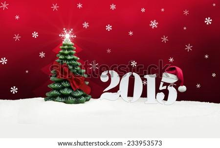 christmas tree happy new year 2015 - stock photo