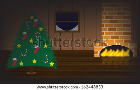 Christmas tree illustration with fireplace and christmas tree - stock photo