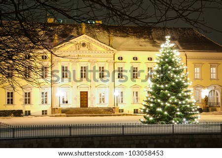 Christmas tree in front of bellevue palace in winter at night in Berlin, Germany - stock photo