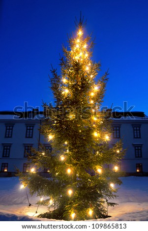 Christmas tree in front of big mansion - stock photo