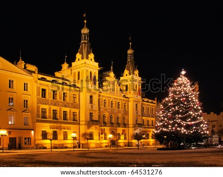christmas tree in front of historical building, Pardubice, Czech - stock photo