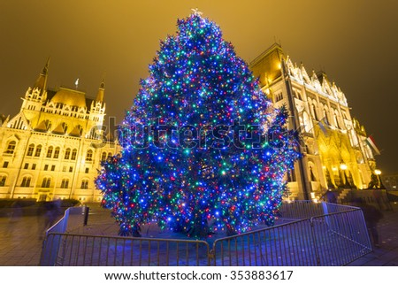 Christmas Tree In Front Off Parliament Building, At Kossuth Square, Budapest, Hungary  - stock photo