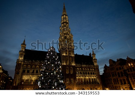 Christmas tree in Grand Place, Brussels, Belgium, 2015 - stock photo