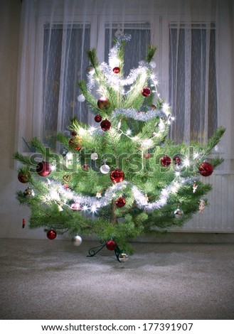 christmas tree in interior - stock photo