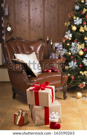 Christmas tree in living room - stock photo