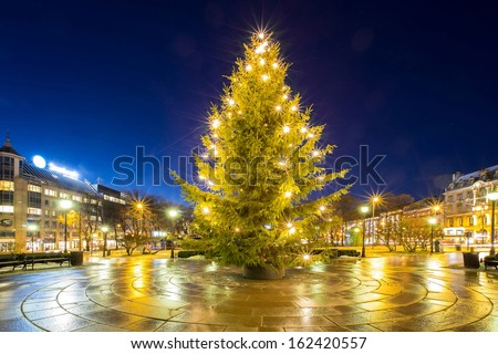 Christmas tree light in oslo city Norway - stock photo