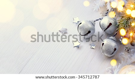 Christmas tree light; Winter Background With Frost Fir Branch 