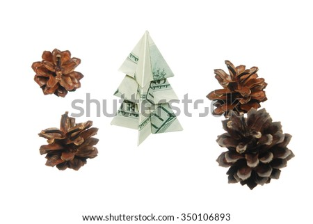 Christmas tree made of hundred dollar bills with a bump on a white background - stock photo
