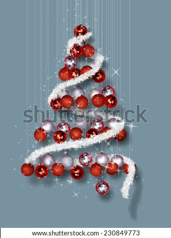 Christmas Tree Made of Ornaments on Blue Background - Decorative balls in Christmas tree shape on blue template  - stock photo