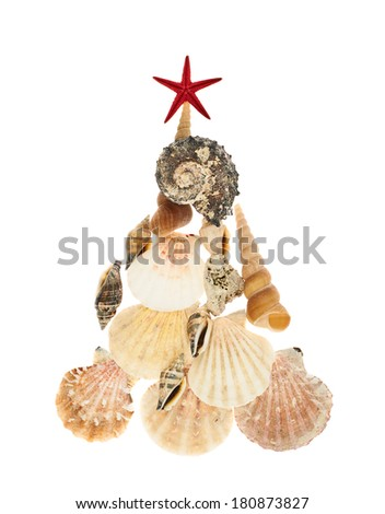 Christmas tree made of seashells isolated over the white background - stock photo