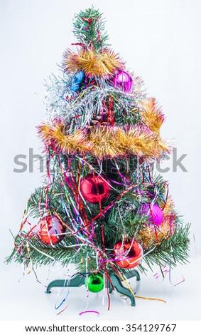 Christmas tree on a white background - stock photo