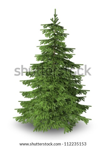 Christmas tree on pure white background with clipping path included. - stock photo