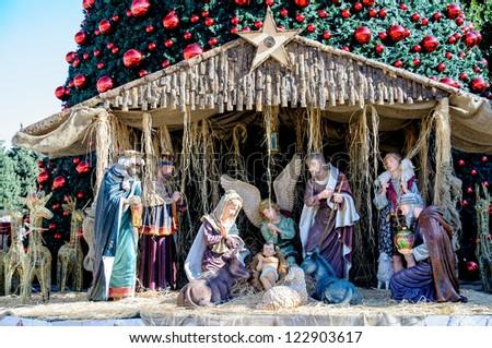 Christmas tree on the square of Bethlehem, Palestine - stock photo